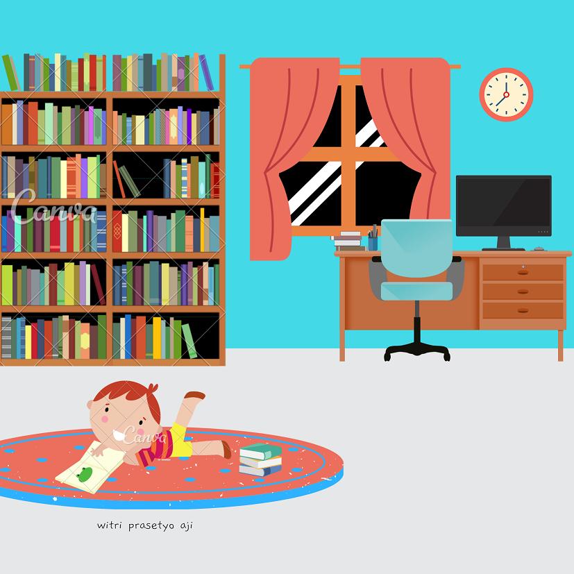 Anak senang membaca buku - Let´s Read